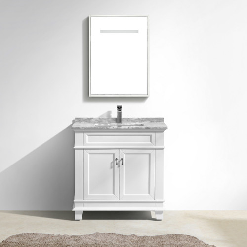 "Moreno Fayer 30"" White Bathroom Vanity With Carrara Marble Top"