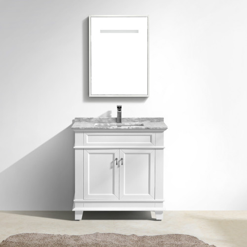 "Moreno Fayer 36"" White Bathroom Vanity With Carrara Marble Top"