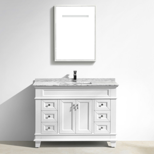 "Moreno Fayer 48"" White Bathroom Vanity With Carrara Marble Top"