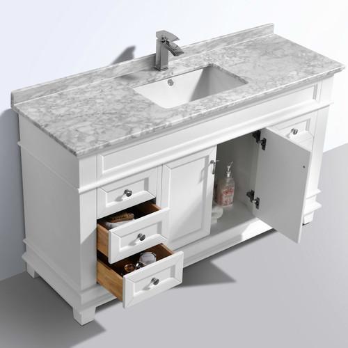 Moreno Fayer 60 Single Sink White Bathroom Vanity With Carrara