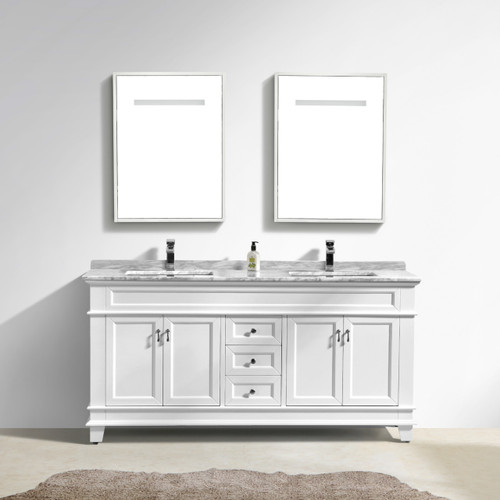 "Moreno Fayer 72"" Double Sink White Bathroom Vanity With Carrara Marble Top"