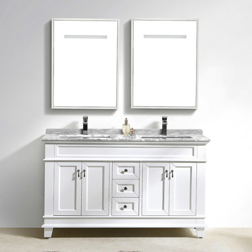 """Moreno Fayer 60"""" Double Sink White Bathroom Vanity With Carrara Marble Top"""