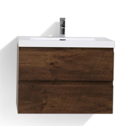 "Moreno MOB 30"" Rose Wood Wall Mounted Modern Bathroom Vanity with Reeinforced Acrylic Sink"
