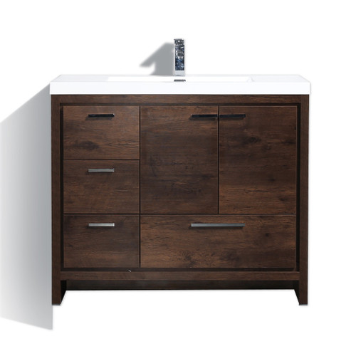"MORENO DOLCE 42"" ROSEWOOD MODERN BATHROOM VANITY W/ LEFT SIDE DRAWERS AND ACRYLIC SINK"