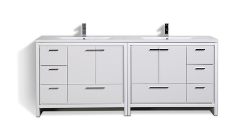 """MORENO DOLCE 84"""" HIGH GLOSS WHITE MODERN BATHROOM VANITY WITH ACRYLIC SINK"""
