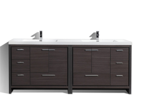 MORENO DOLCE MOD 84'' DARK GREY OAK MODERN BATHROOM VANITY WITH ACRYLIC SINK