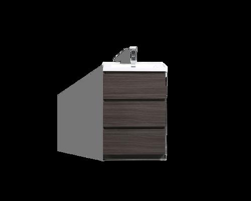 MOA 24″ DARK GRAY OAK MODERN BATHROOM VANITY W/ 3 DRAWERS AND ACRYLIC SINK