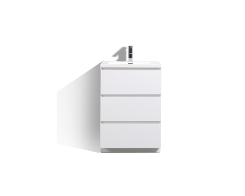 MOA 24″ GLOSS WHITE MODERN BATHROOM VANITY W/ 3 DRAWERS AND ACRYLIC SINK