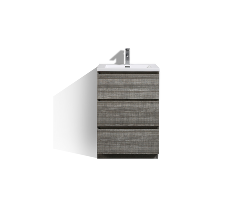 MOA 24″ ASH-GREY MODERN BATHROOM VANITY W/ 3 DRAWERS AND ACRYLIC SINK