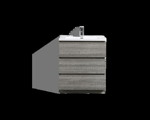 MOA 30″ GLOSS ASH-GRAY MODERN BATHROOM VANITY W/ 3 DRAWERS AND ACRYLIC SINK