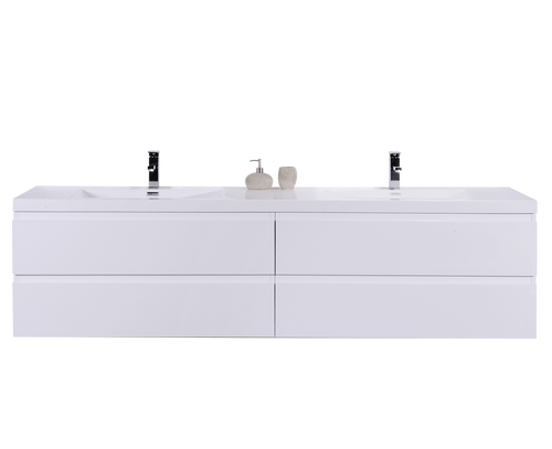 "MORENO MOB 72"" GLOSS WHITE WALL MOUNTED MODERN BATHROOM VANITY WITH REEINFORCED ACRYLIC SINK"
