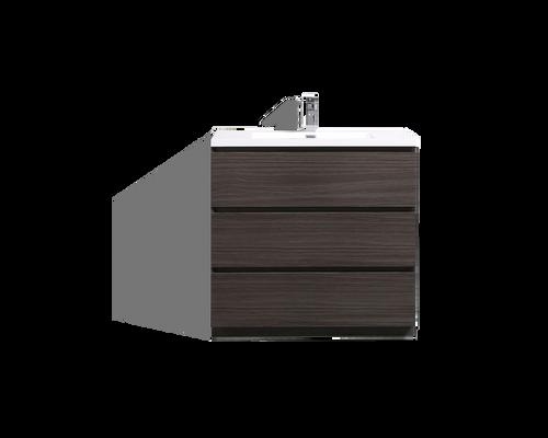 MOA 42'' DARK GREY-OAK MODERN BATHROOM VANITY W/ 3 DRAWERS AND ACRYLIC SINK