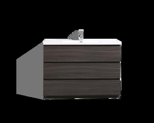 MOA 48'' DARK GREY-OAK MODERN BATHROOM VANITY W/ 3 DRAWERS AND ACRYLIC SINK