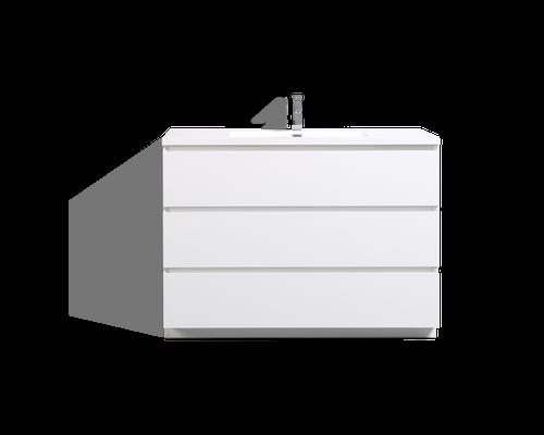 MOA 48'' GLOSS WHITE MODERN BATHROOM VANITY W/ 3 DRAWERS AND ACRYLIC SINK