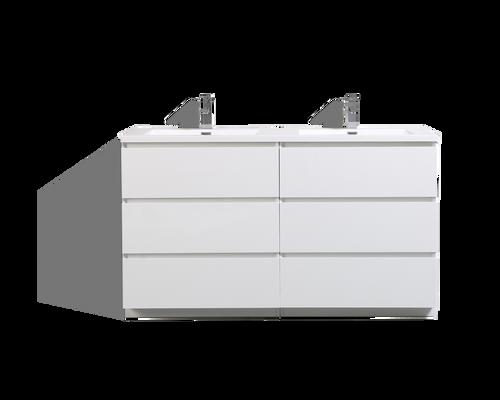MOA 60'' DOUBLE SINK GLOSS WHITE MODERN BATHROOM VANITY W/ 6 DRAWERS AND ACRYLIC SINK