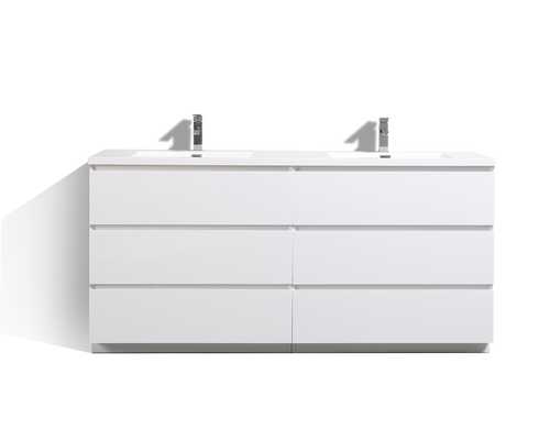 MOA 72″ DOUBLE SINK GLOSS WHITE MODERN BATHROOM VANITY W/ 6 DRAWERS AND ACRYLIC SINK