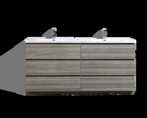 MOA 72″ DOUBLE SINK ASH-GRAY MODERN BATHROOM VANITY W/ 6 DRAWERS AND ACRYLIC SINK
