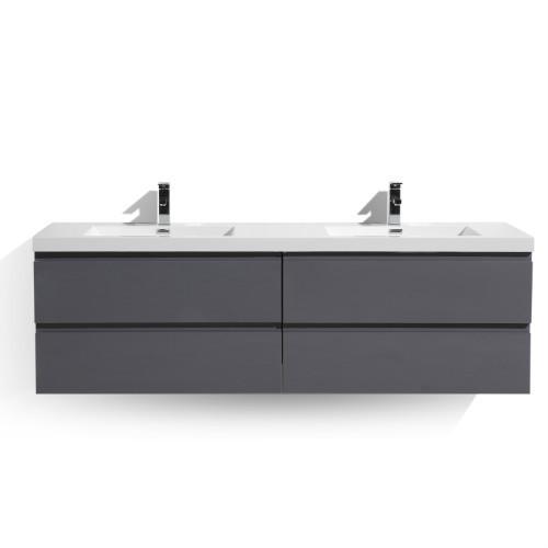 "Moreno MOB 84"" High Gloss Grey Wall Mounted Modern Bathroom Vanity with Reinforced Acrylic Sink"
