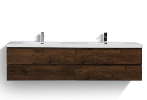 "Moreno MOB 84"" Double Sink Rosewood Wall Mounted Modern Bathroom Vanity With Reeinforced Acrylic Sink"