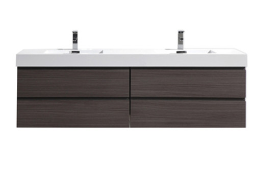 "Moreno MOB 84"" Double Sink Dark Grey Oak Wall Mounted Modern Bathroom Vanity With Reeinforced Acrylic Sink"