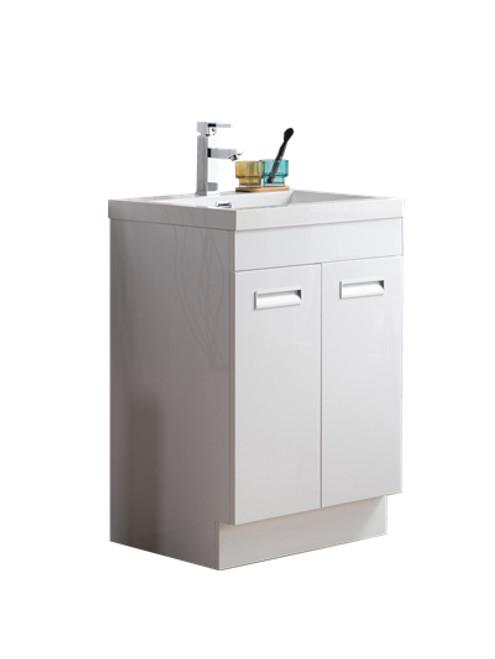 "Alma 24"" Glossy White Free Standing Modern Bathroom Vanity"