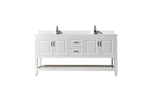 """Louis 7072"""" White Bathroom Vanity with Quartz Marble Top"""