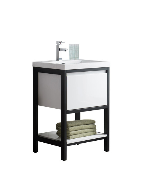 """Lake 24"""" Glossy White Free Standing Modern Bathroom Vanity with Matte Black Stainless Steel Frame with Acrylic Sink"""