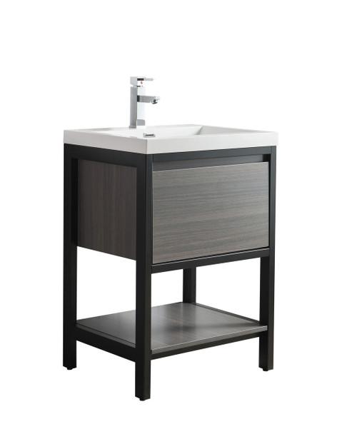 "Lake 24"" Grey Oak Free Standing Modern Bathroom Vanity with Matte Black Stainless Steel Frame with Acrylic Sink"
