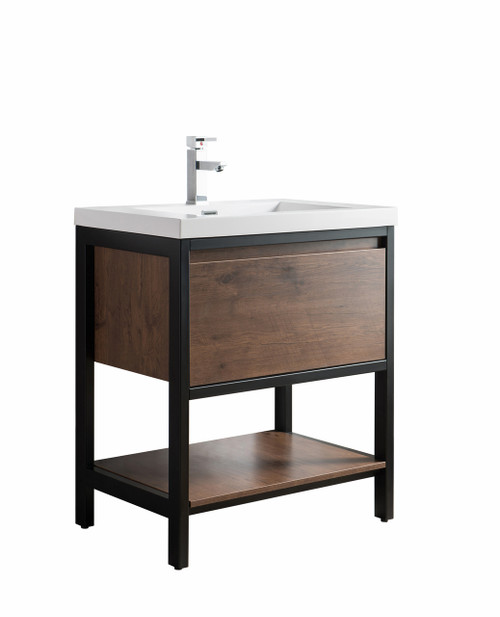 """Lake 30"""" Rosewood Free Standing Modern Bathroom Vanity with Matte Black Stainless Steel Frame with Acrylic Sink"""