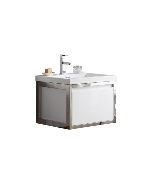 """Lake 24"""" Glossy White Wall Hung Modern Bathroom Vanity with Chrome Stainless Steel Frame with Acrylic Sink"""