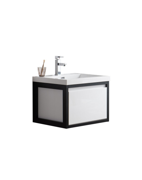 """Lake 24"""" Glossy White Wall Hung Modern Bathroom Vanity with Matte Black Stainless Steel Frame with Acrylic Sink"""