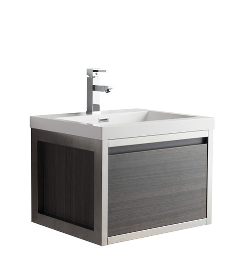 """Lake 24"""" Grey Oak Wall Hung Modern Bathroom Vanity with Chrome Stainless Steel Frame with Acrylic Sink"""