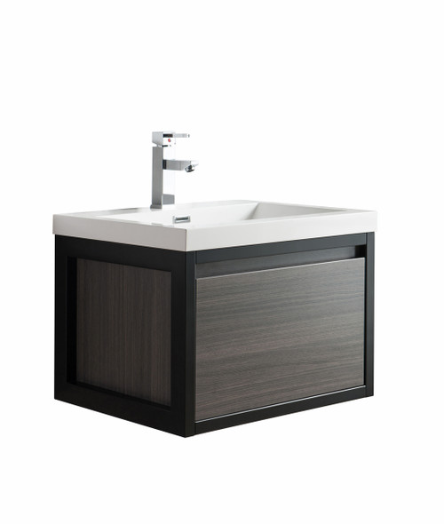 """Lake 24"""" Grey Oak Wall Hung Modern Bathroom Vanity with Matte Black Stainless Steel Frame with Acrylic Sink"""