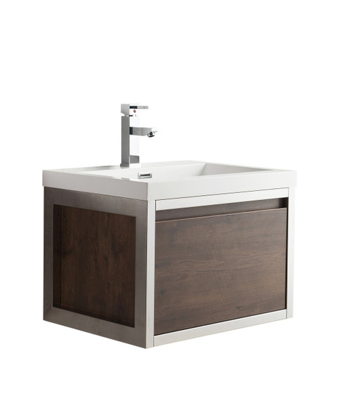 """Lake 24"""" Rosewood Wall Hung Modern Bathroom Vanity with Chrome Stainless Steel Frame with Acrylic Sink"""