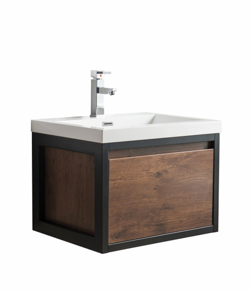 """Lake 24"""" Rosewood Wall Hung Modern Bathroom Vanity with Matte Black Stainless Steel Frame with Acrylic Sink"""