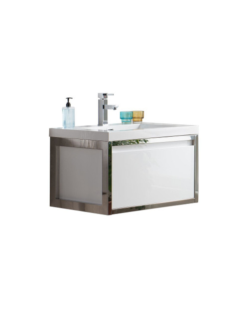 """Lake 30"""" Glossy White Wall Hung Modern Bathroom Vanity with Chrome Stainless Steel Frame with Acrylic Sink"""