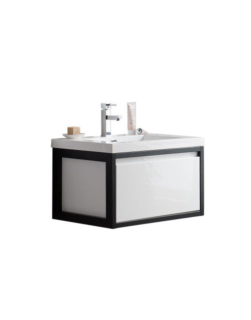 """Lake 30"""" Glossy White Wall Hung Modern Bathroom Vanity with Matte Black Stainless Steel Frame with Acrylic Sink"""