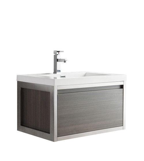 """Lake 30"""" Grey Oak Wall Hung Modern Bathroom Vanity with Chrome Stainless Steel Frame with Acrylic Sink"""