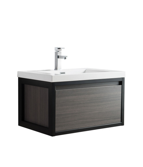 """Lake 30"""" Grey Oak Wall Hung Modern Bathroom Vanity with Matte Black Stainless Steel Frame with Acrylic Sink"""