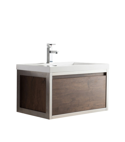 """Lake 30"""" Rosewood Wall Hung Modern Bathroom Vanity with Chrome Stainless Steel Frame with Acrylic Sink"""