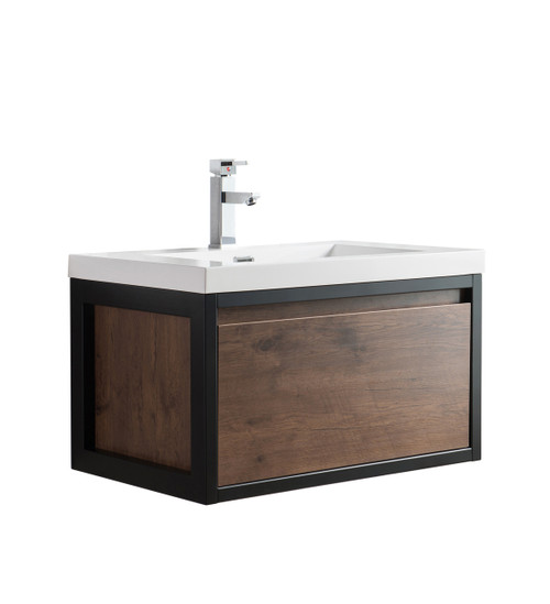 """Lake 30"""" Rosewood Wall Hung Modern Bathroom Vanity with Matte Black Stainless Steel Frame with Acrylic Sink"""