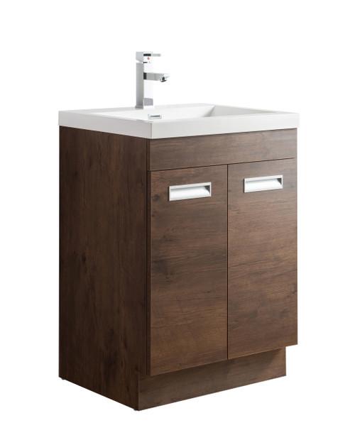 """Alma 24"""" Rosewood Free Standing Modern Bathroom Vanity"""