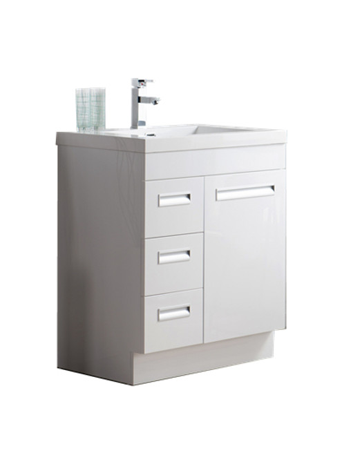 "Alma 30"" Glossy White Free Standing Left Side Modern Bathroom Vanity"
