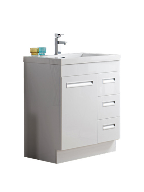 "Alma 30"" Glossy White Free Standing Right Side Modern Bathroom Vanity"