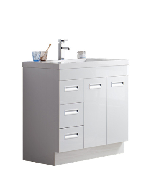 "Alma 36"" Glossy White Free Standing Left Side Modern Bathroom Vanity"