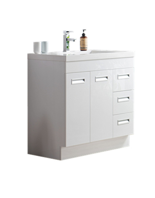 "Alma 36"" Glossy White Free Standing Right Side Modern Bathroom Vanity"