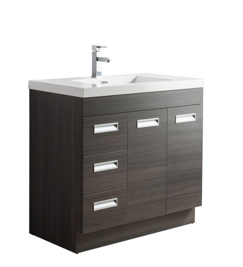 "Alma 36"" Grey Oak Free Standing Left Side Modern Bathroom Vanity"