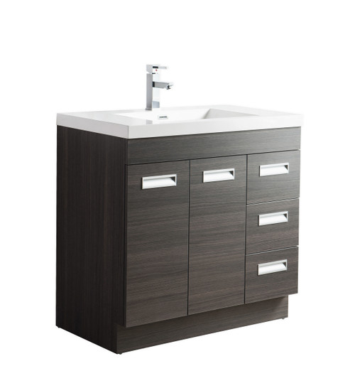 "Alma 36"" Grey Oak Free Standing Right Side Modern Bathroom Vanity"