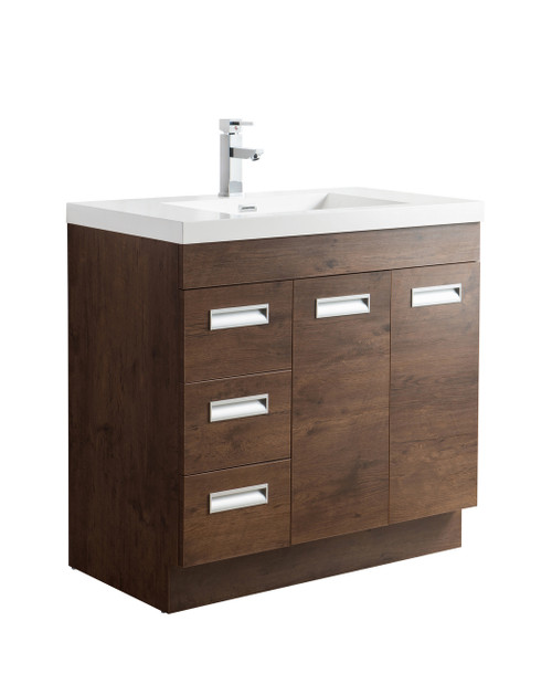 "Alma 36"" Rosewood Free Standing Left Side Modern Bathroom Vanity"