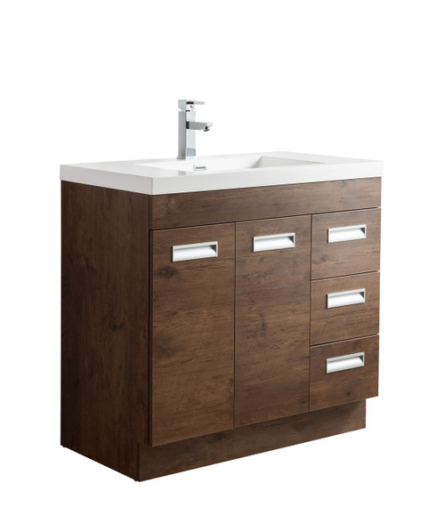 "Alma 36"" Rosewood Free Standing Right Side Modern Bathroom Vanity"